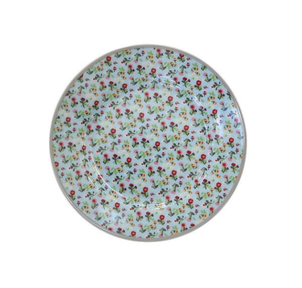 Teller mit Streifen / Blumen blau