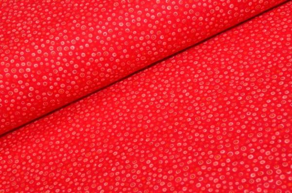 Strak Reduziert! Flanell Stoff / Punkte Rot