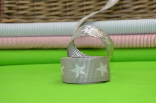 Gurtband Sterne 4 cm / Hellgrau