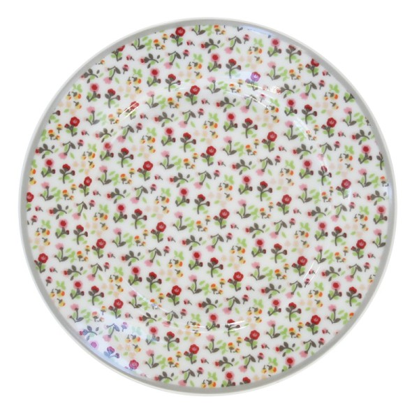 Teller mit Streifen / Blumen weiß