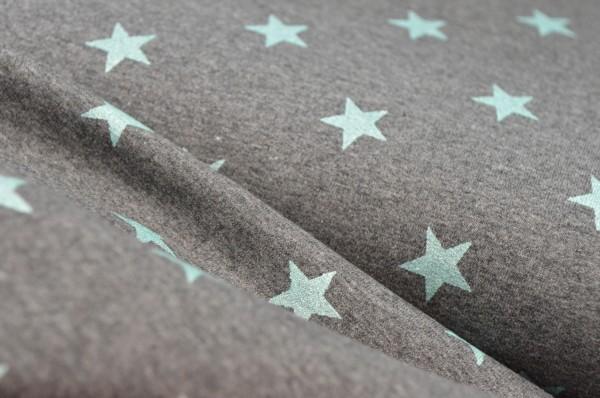 Sweat glitzer Stoff mit Sterne / Grau Türkis